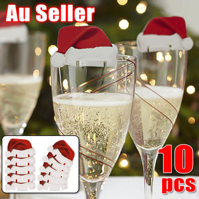 10pcs Xmas Hats Champagne Wine Glass Caps Christmas Holiday Party Decorations