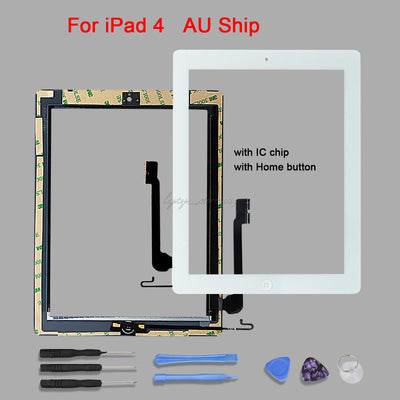 iPad 4 White Touch Screen Glass Digitizer Replacement+IC Chip & Home Button
