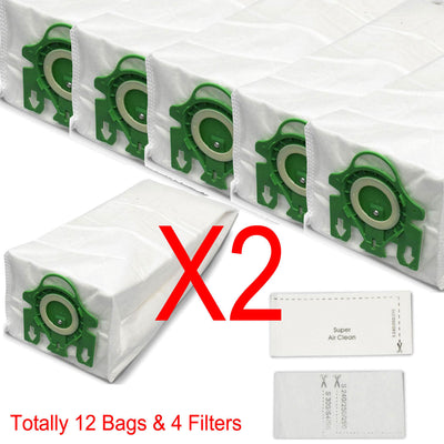 12 Bags & 4 Filter For Miele Hyclean U Green S7 Upright Series Vacuum Cleaner 3D