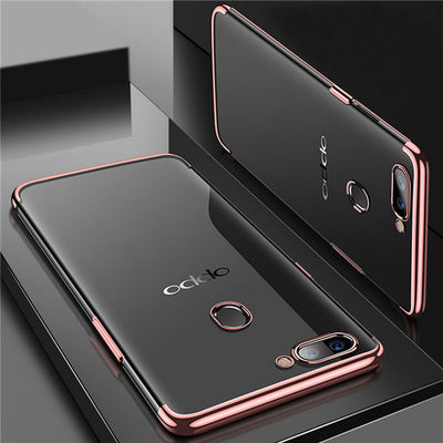 For Oppo A73 F5 Electroplated Protect Clear Plain Soft TPU Slim Phone Case Cover