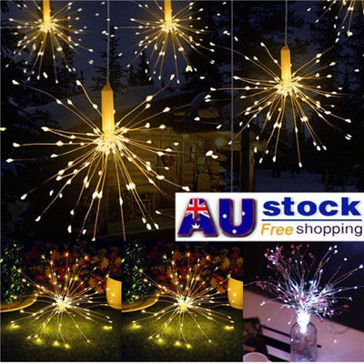 Waterproof LED Firework Copper Wire String Light Xmas Wedding Party Decor