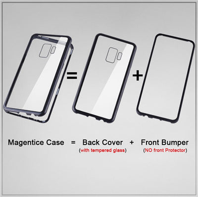 Samsung Galaxy S8 S9 Plus Note 8 9 Magnetic Back Tempered Glass Case Cover