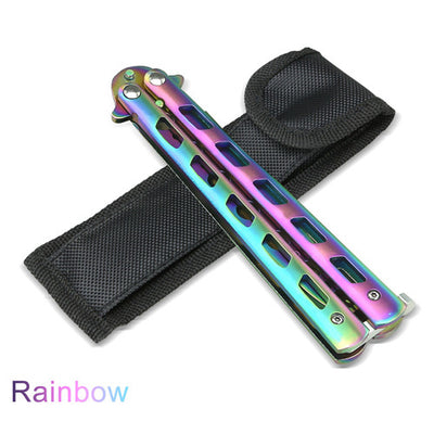 Rainbow Butterfly Balisong Knife Metal Folding Practice Trainer Training Tool