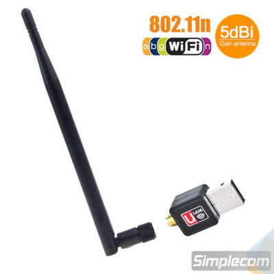 USB WiFi Wireless N Adapter Wi-Fi Dongle 5dBi High Gain Power Antenna 802.11N