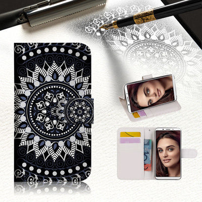 Black AZTEC TRIBAL Wallet TPU Case Cover For OPPO A3S -- A005