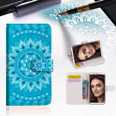 BLUE AZTEC TRIBAL Wallet TPU Case Cover For OPPO R17 -- A001