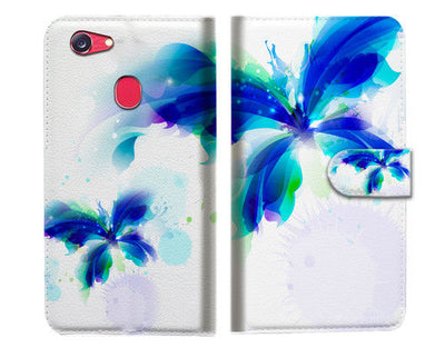 Blue Butterfly Wallet Case Cover For OPPO R11S -- A009