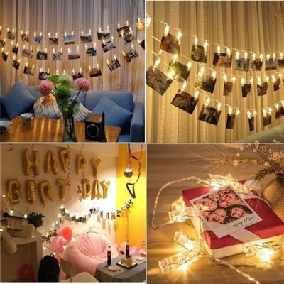 20-50 LED Hanging Picture Photo Peg Clip Fairy String Lights Wedding Party Decor