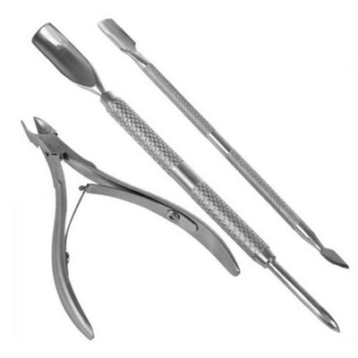 3Pc Art Set Nail Cuticle Nipper Tool Spoon Pusher Remover Cutter Clipper Trimmer