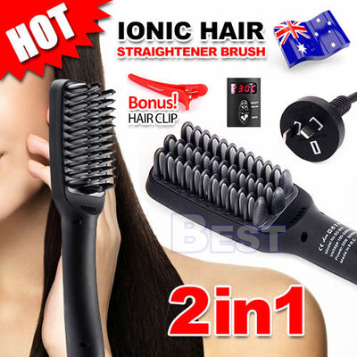 Pro Electric Ionic Hair Straightener Brush Styler Comb LED Straightening