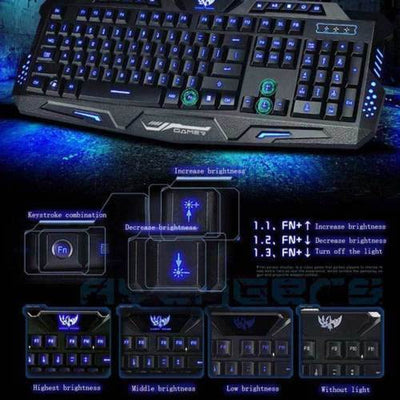 3 Color LED Backlight Keyboard Wired USB Illuminated Cool Ergonomic PC Gaming