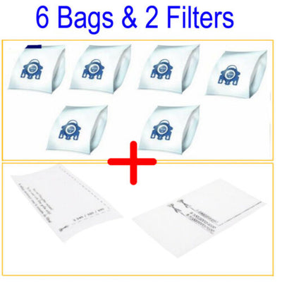 6 Synthetic 3D Type Bag 2 Filter For Miele Complete C2 Allergy PowerLine EcoLine