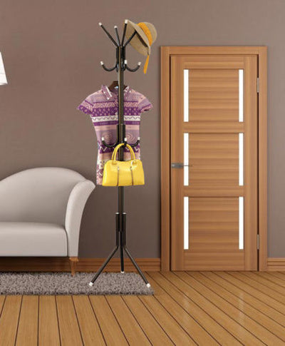 12 Hook Coat Hanger Stand 3-Tier Hat Clothes Rack Metal Tree Style Storage Black