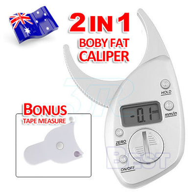 Digital LCD Body Fat Calipers Skin Fold Fitness Weight Loss Free Tape Measure