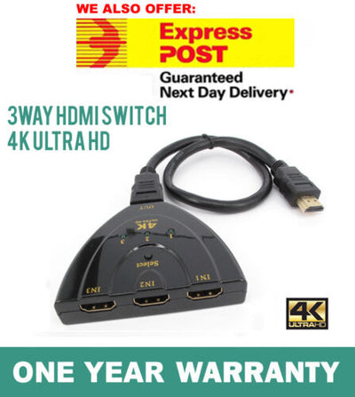 4K Ultra HD 3 Way HDMI Switch Splitter HDTV Auto 3 Port IN 1 OUT with Cable