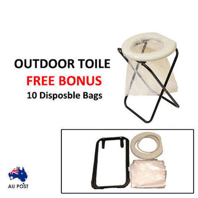 Portable Folding Toilet Outdoor Camp Travel Camping Hunting Caravan Bonus Bags