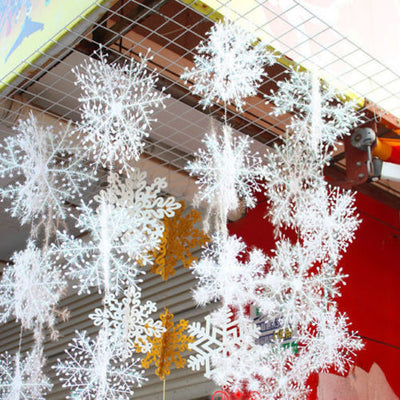 3d white snow flake bunting garland hanging christmas party decoration