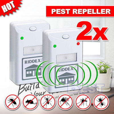 2X RIDDEX Plus Pest Repeller Ultrasonic Electronic Rat Mosquito Rodent Control