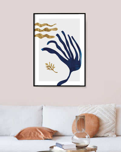 Blue and gold abstract wall art seaweed wall art posters