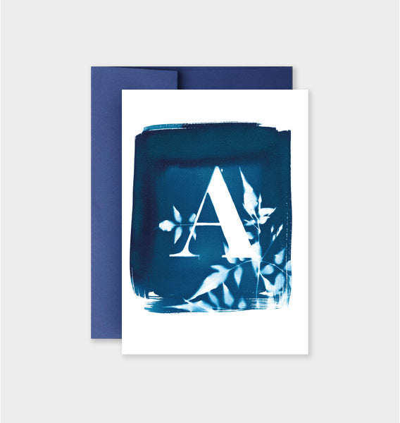 Letter A Botanical Cyanotype Notecard