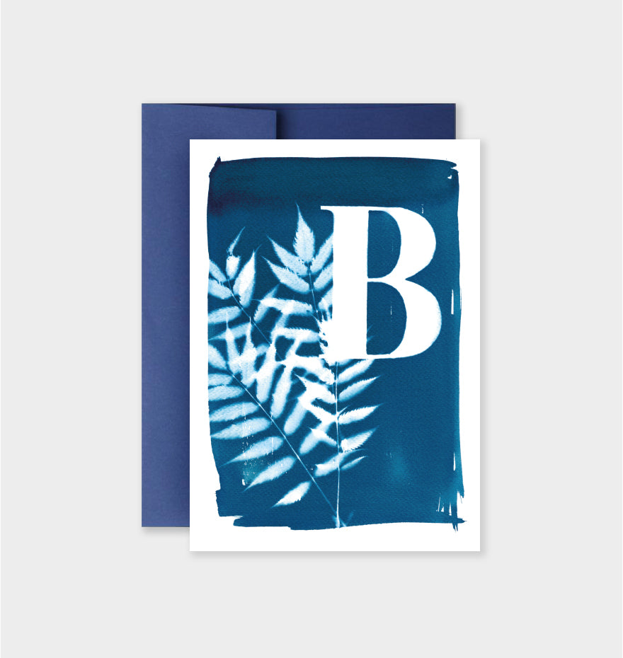 Letter B Botanical Cyanotype Notecard