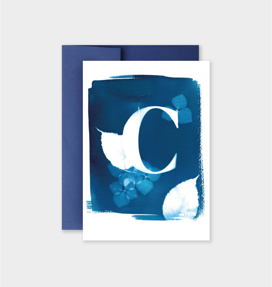 Letter C Botanical Cyanotype Notecard