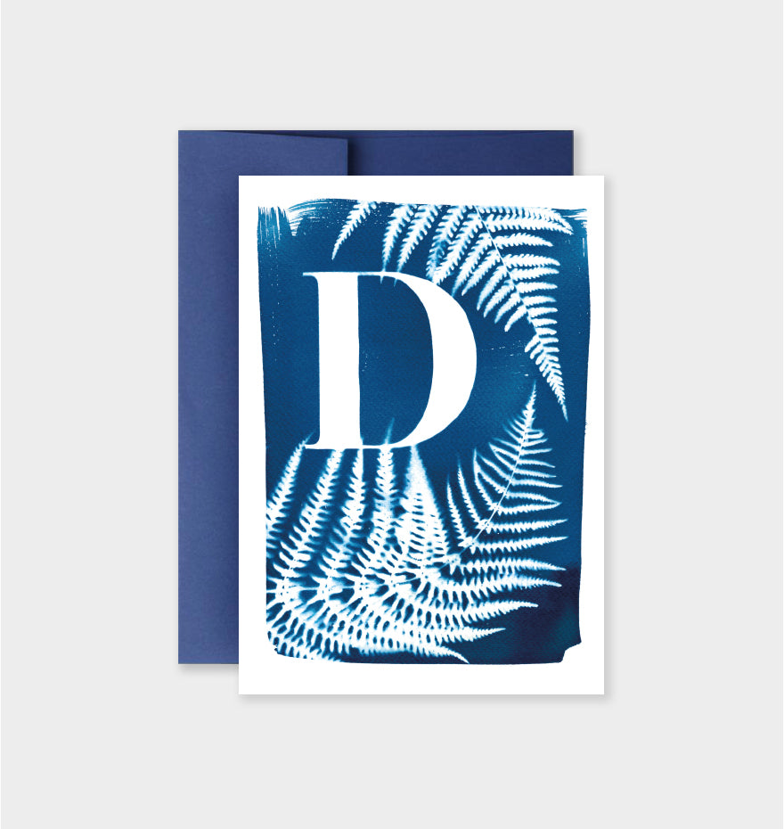 Letter D Botanical Cyanotype Notecard