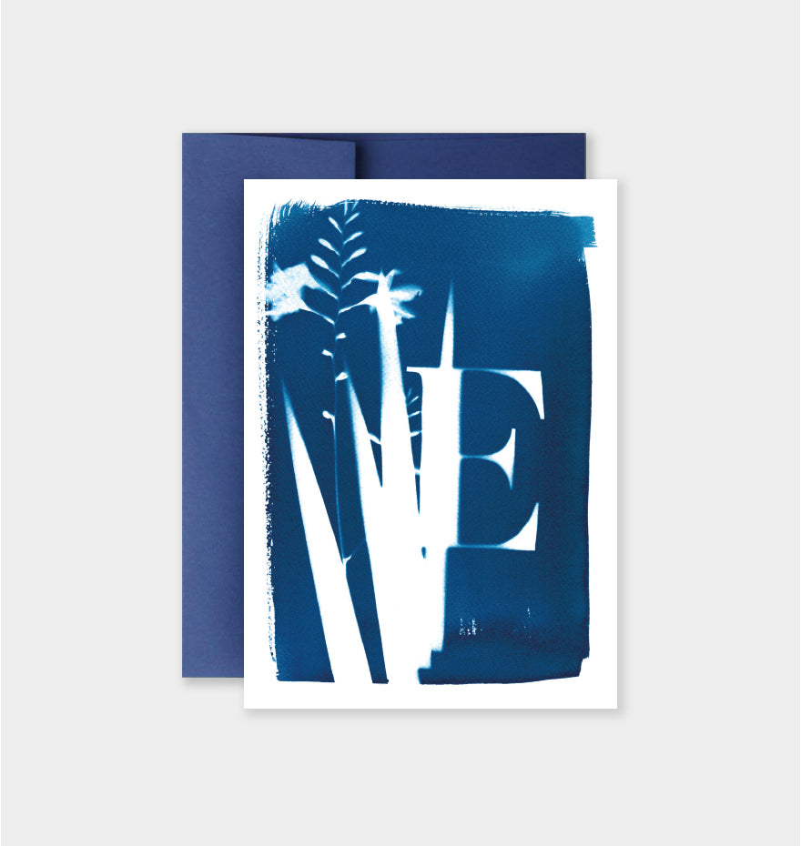 Letter E Botanical Cyanotype Notecard