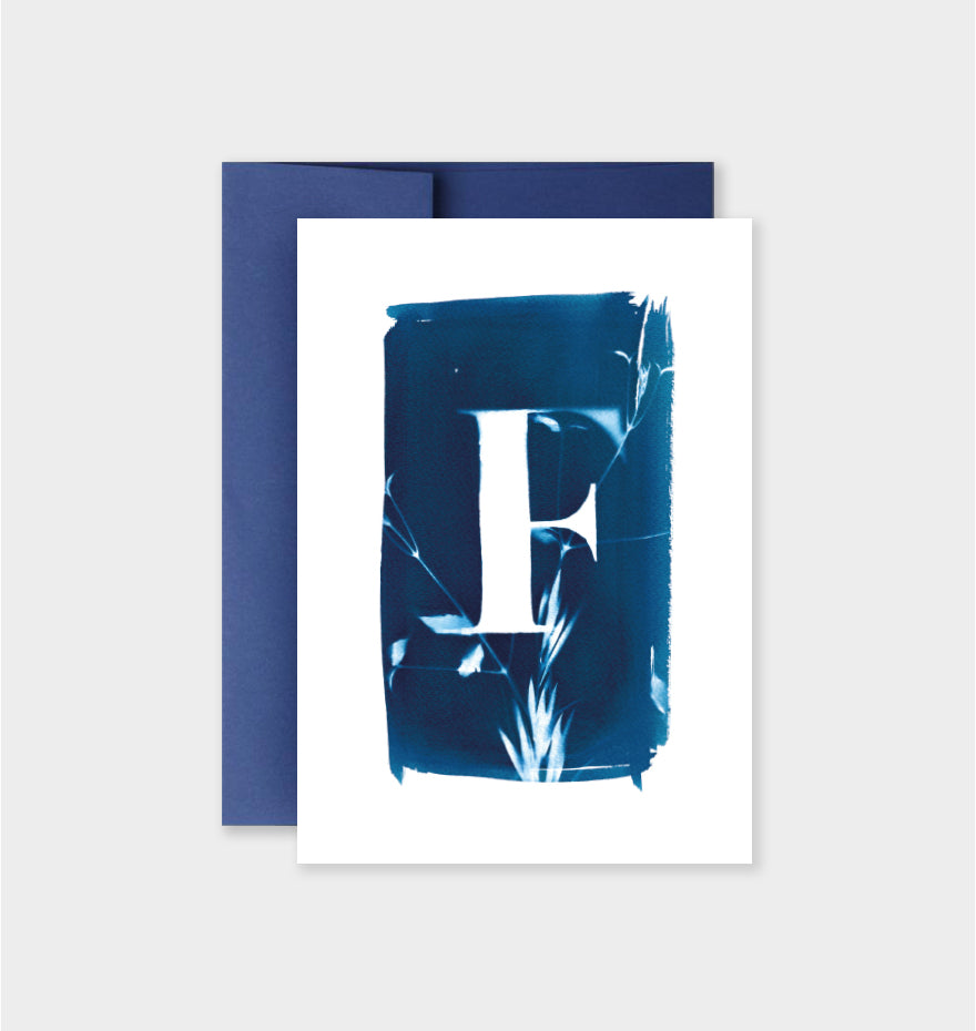 Letter F Botanical Cyanotype Notecard