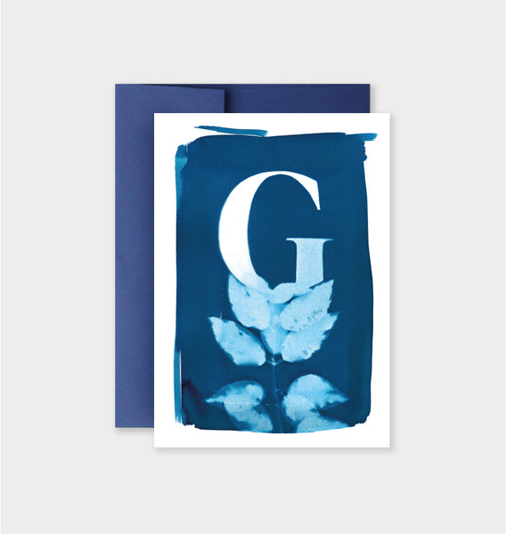 Letter G Botanical Cyanotype Notecard