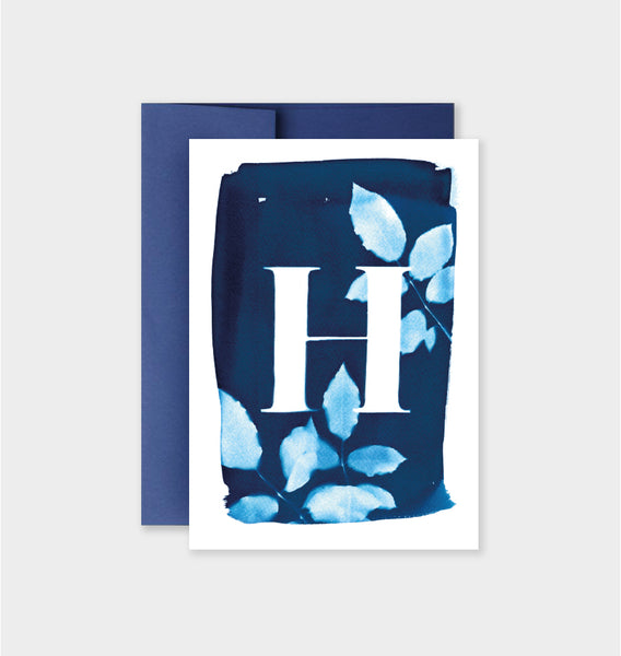 Letter H Botanical Cyanotype Notecard