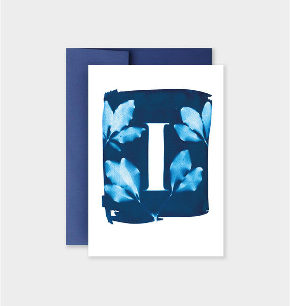 Letter I Botanical Cyanotype Notecard