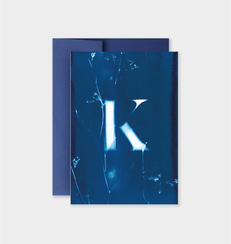 Letter K Botanical Cyanotype Notecard