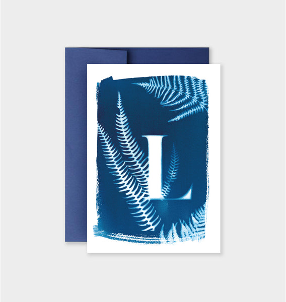 Letter L Botanical Cyanotype Notecard