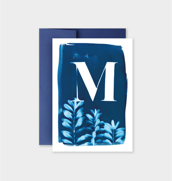 Letter M Botanical Cyanotype Notecard