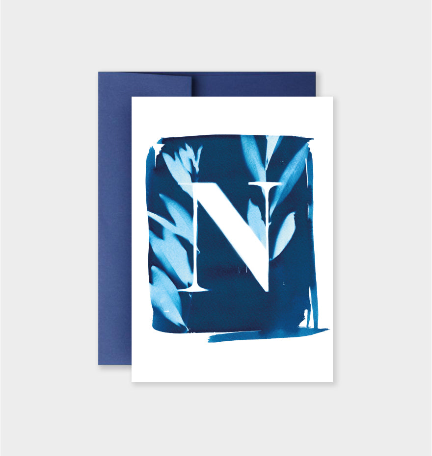 Letter N Botanical Cyanotype Notecard