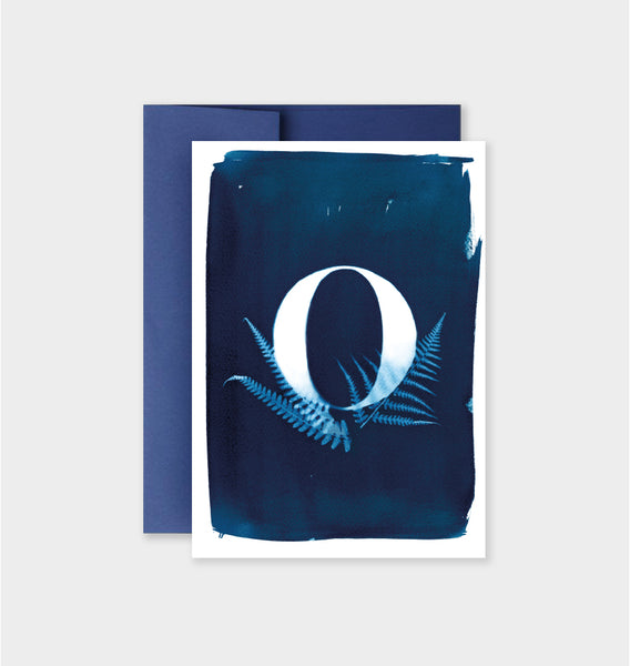 Letter O Botanical Cyanotype Notecard