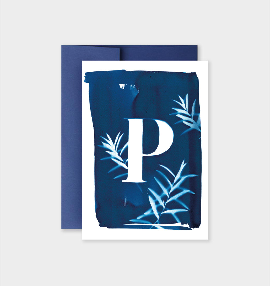 Letter P Botanical Cyanotype Notecard