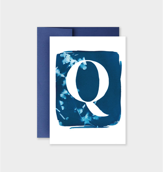Letter Q Botanical Cyanotype Notecard