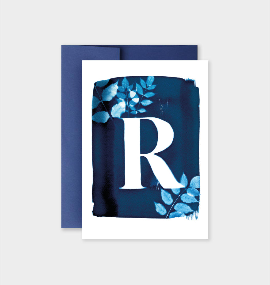 Letter R Botanical Cyanotype Notecard