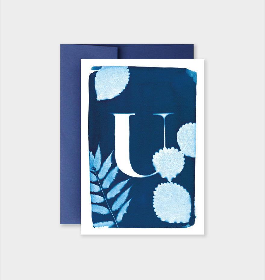Letter U Botanical Cyanotype Notecard