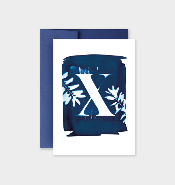 Letter X Botanical Cyanotype Notecard