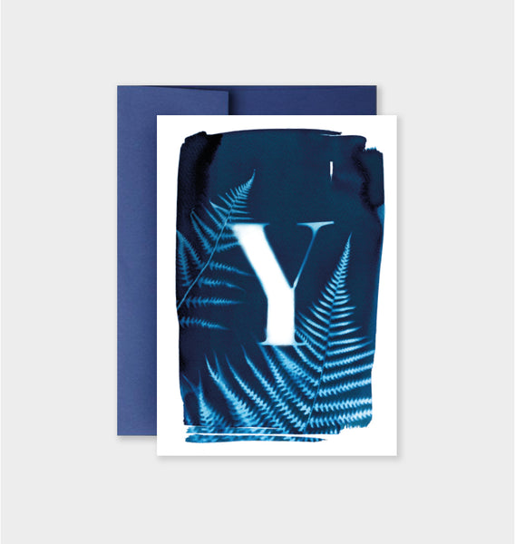 Letter Y Botanical Cyanotype Notecard