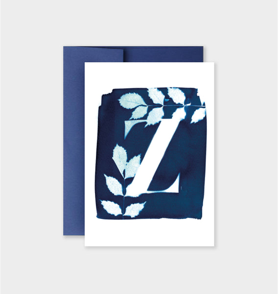 Letter Z Botanical Cyanotype Notecard