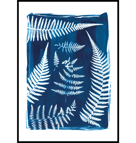 Cyanotype fern wall art print made in Cornwall by Paper Birch