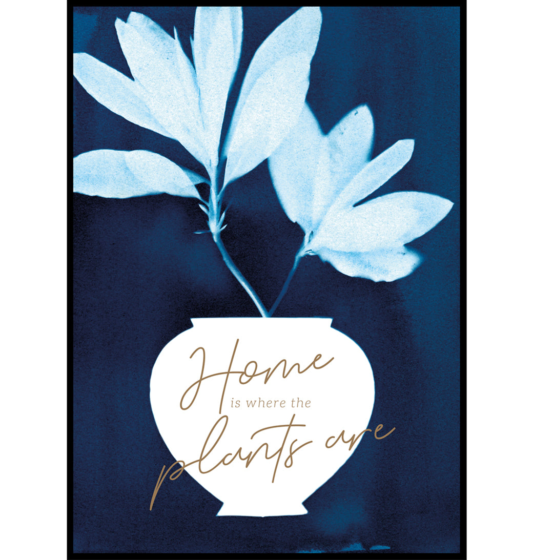 Rhododendron cyanotype botanical wall art print, Home is where the plants are