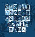 A-Z Botanical Monogram Alphabet Cyanotype Postcards