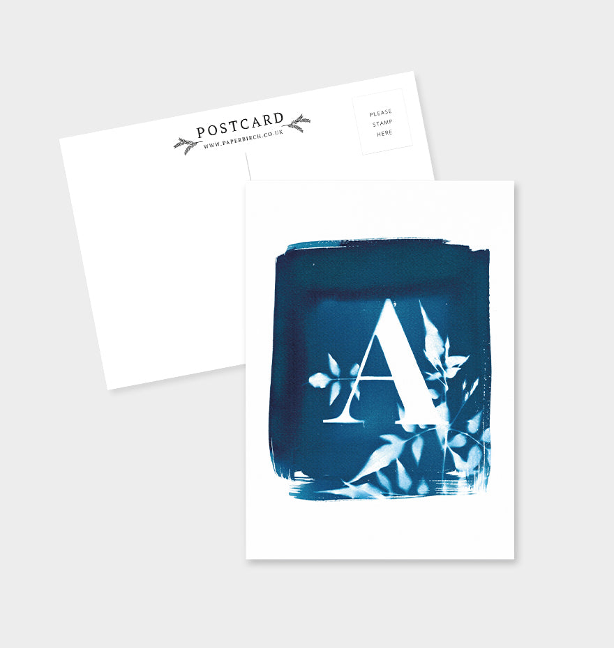 Letter A Botanical Cyanotype Postcard