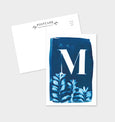 Letter M Botanical Cyanotype Postcard