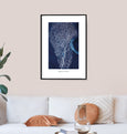Gorgonia ventalina (purple sea fan), caribbean art, cyanotype, unframed wall art print